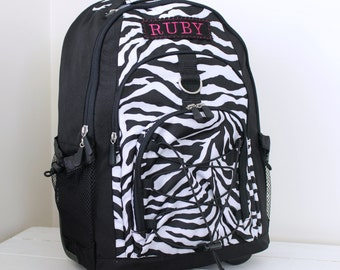 Large Rolling Backpack With Monogram (Pottery Barn Teen) -- Black Zebra -- Free Shipping