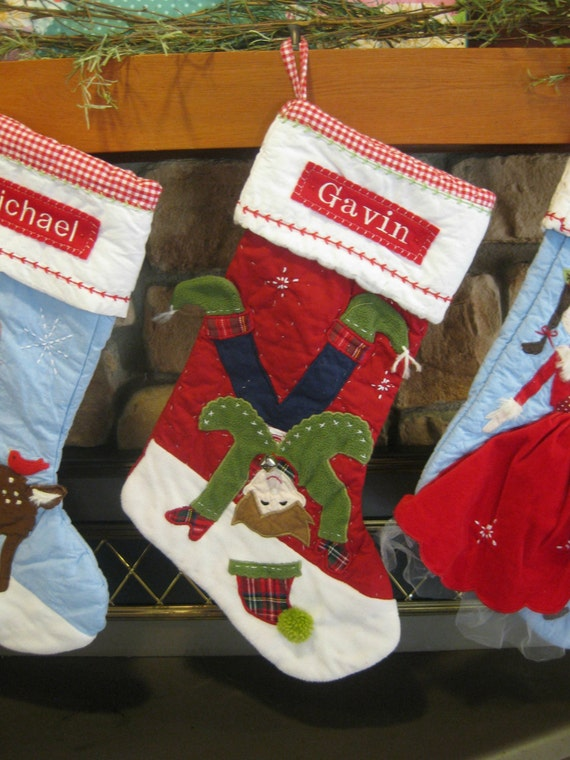christmas stocking with monogram pottery barn quilted stocking. Black Bedroom Furniture Sets. Home Design Ideas