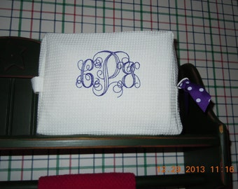 Small or medium Cosmetic Bags with Monogram-- special gift for Weddings and Holidays