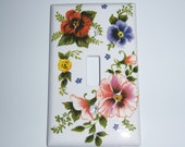 RESERVED FOR AUDREY - Colorful pansies single light switch cover - swarovski crystals