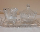 Vintage Creamer and Sugar Set With Tray Clear Ribbed Depression Glass
