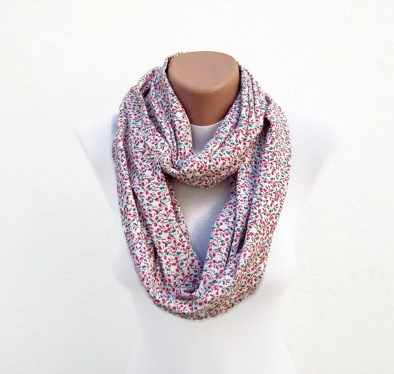 infinity scarf Loop scarf Neckwarmer Necklace scarf Fabric scarf  White Red Green