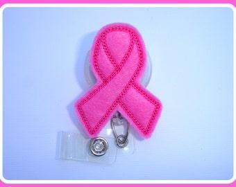 Retractable Badge Holder - Pink ribbon badge reel - breast cancer awareness - medical staff nurse teacher