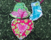 Set of 3 Lilly Pulitzer Rag Quilt Ornaments