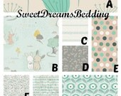 Custom Crib Bedding You Design   Bumper and Bedskirt in Littlest grey and teal