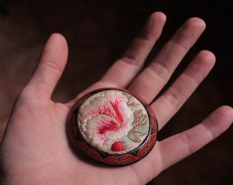Large Embroidered Asian Floral Brooch