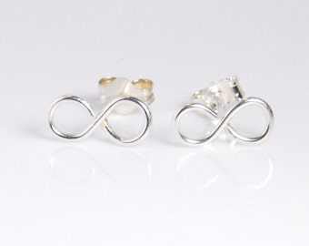 Sterling silver infinity earrings, post earrings, made entirely with sterling silver