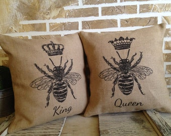 French King Bee and Queen Bee - Throw Pillows - Inserts Included