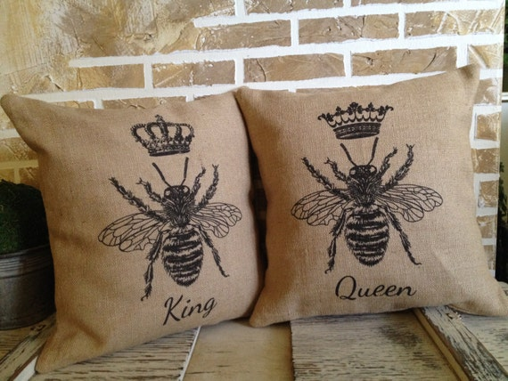 King And Queen Decorative Pillows : French King Bee and Queen Bee Throw Pillows by SimplyFrenchMarket
