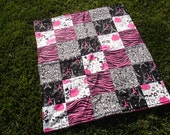 Patchwork Blanket- Paris, Zebra, Cheetah and Roses with Chevron Minky Backing