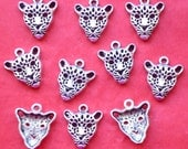 SALE, LEOPARD, wild cat head Charms x 10, antique silver tone, charm, UK seller, reduced, was 1.50, now only 1 pound while stocks last