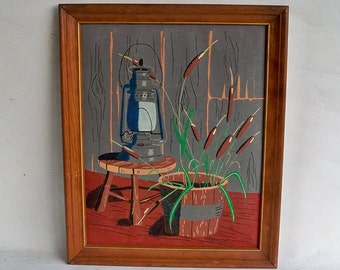 Vintage Framed Felt Painting - Cabin - Lodge Still Life