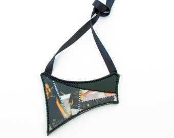 Geometric Illustrated Chunky Bib Necklace-Avant Garde-Embroidered-Modern