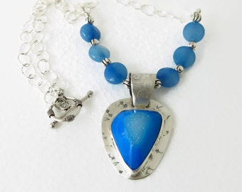 Blue Drusy Druzy Pendant Necklace set in Sterling silver