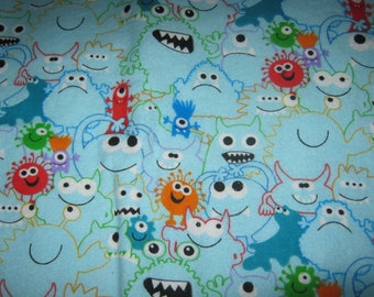 Silly Blue Monsters Flannel Fabric 1/2 yard-for diapers, pj's