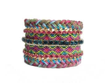 SALE - Braided statement cuff with friendship bracelet, gold plated curb chains & Swarovski crystal cupchains