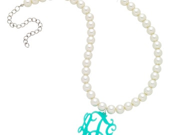 Acrylic Pearl Monogrammed  Necklace with Silver Plated Chain Monogram