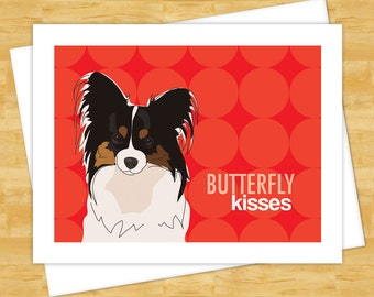 Papillon Dog Card - Butterfly Kisses - Papillon Note Cards Valentines Day Cards I Love You Cards