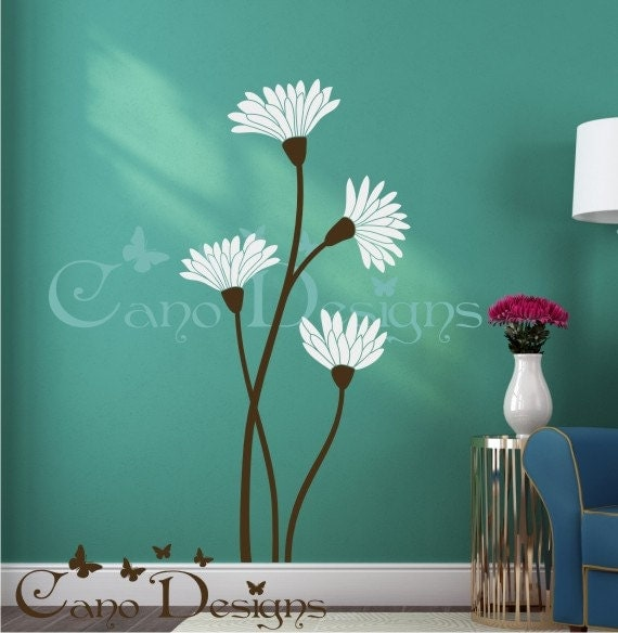 Floral Design Vinyl Decal Wall Decals Stickers removable