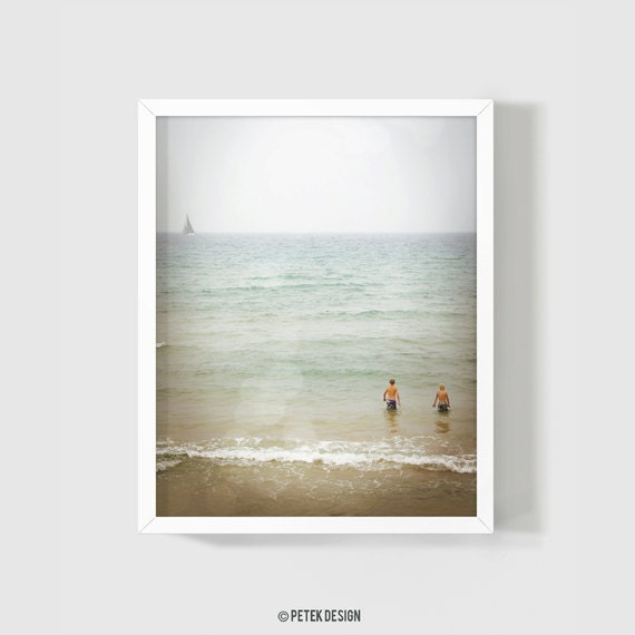 Foggy Summer Day / Minimal Art Photograph For Your Home Walls / Bedroom Decor / Living Room Decor / Mint Photography / Pastel Print / Sea