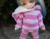 Pink Stripes Fluffy Set for Pukifee/Lati Yellow