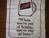 RAD vintage official Schlitz beer bar towel