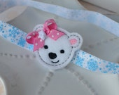 Cute Winter Headband for Baby Girl- A Polar Bear with Pink Bow on Snowflake Headband or Pink Polka Dot Headband