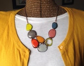 Tagua nut jewelry. Multi Color Necklace. statement necklace. Blue Gray Yellow Mustard Tan Orange. Sela Designs. READY TO SHIP jewelry