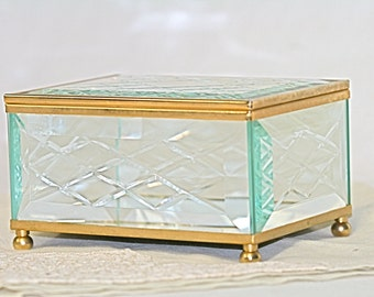 Lefton Trinket Box Beveled Glass