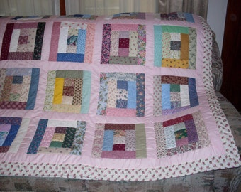 Lower Shipping!  Scrappy Log quilt ,  Full size 80x92 inches