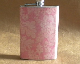 Bridesmaids Gift Flask on SALE Sweet Pea Floral Print Birthday Girly Stainless Steel Hip Flask 8 Ounces KR2D 6625