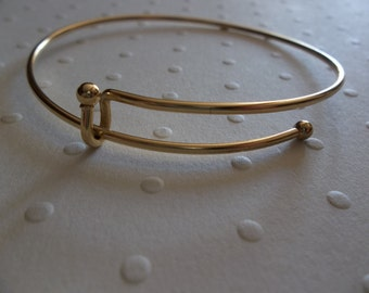 Gold Adjustable Bangle Bracelet - Add-a-Charm Expandable - 3mm Ball Ends - Qty 2