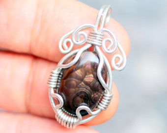 mexican fire agate pendant natural stone jewelry