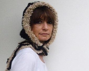 Black and white women hat Fall Fashion hats Crochet Knit women hat Italian style Winter fashion women Bouclè wool Gift for her Black Cream