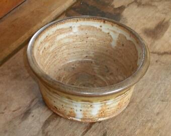 Vintage Ceramic Pottery Bowl Hand Made Glazed Brown Tan Home Decor Kitchen Dining Serving Wedding Gift