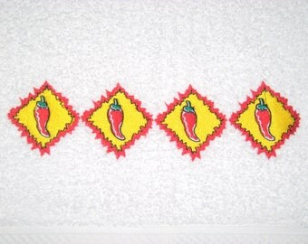 Sizziling Chili's Embroidered Hand Towel