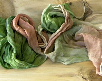 Dryad: Hand Dyed Green and Brown Silk Chiffon Scarf