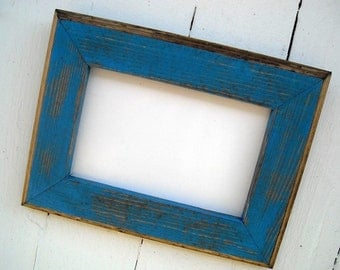 8x8 Picture Frame, Blue Rustic Weathered Style With Routed Edges