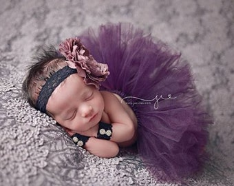3 Pc. Plum Princess Tutu Headband and Wristlet set, Newborn Tutu, Newborn Photo Prop, Baby tutu and headband