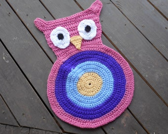 Hootie, The Owl Rug. Girls Crocheted Handmade Owl In Girly Girl Colors. Pink, Purple, Hydrangea, Yellow Whimsical PlayRoom Nursery Kids Room