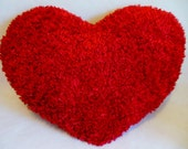 RED HEART Shaggy Silky Throw Toss Heart Pillow ... LARGE 17 in. x 21- 1/2 in. *  Dream * Faux Fur * Red Super Soft Huggable Heart Pillow