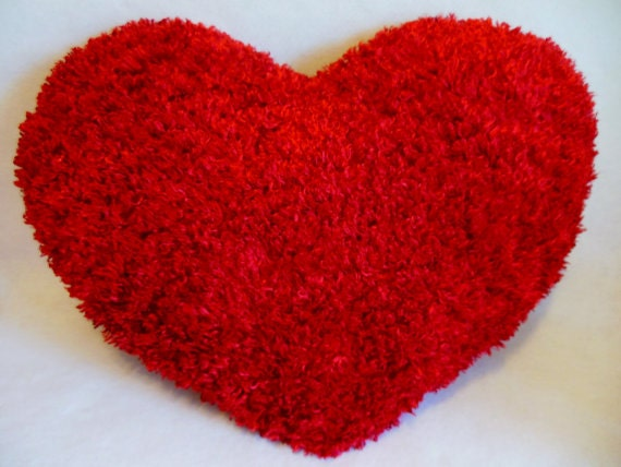 Red Heart Decorative Pillow : LARGE RED Heart Fluffy Shaggy Silky Throw Toss Pillow Large