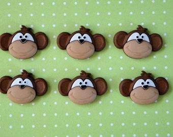 Monkey Cabochons 6pc.