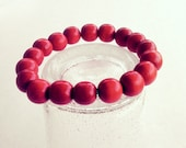 Stretch Bracelet Red Wooden Beads