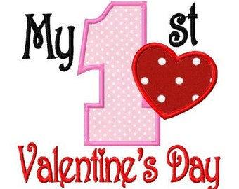 My first valentine applique machine embroidery design