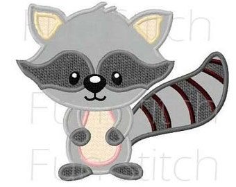 Raccoon applique machine embroidery design instant download