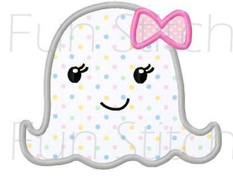 Girly ghost applique Halloween machine embroidery design