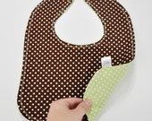 SALE Bib in Brown and Sage Polka Dot Cotton Baby Snap Bib Woodland Theme Baby Shower Gift Gender Neutral Baby Gift Gifts for Baby Under 15