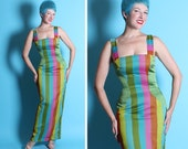 KILLER Show Stopping 1950's Custom Couture Multicolored Striped Silk Chiffon & Silk Hourglass Long Glamor Evening Gown - Hand Detailed - M
