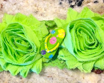 Shabby Chic Green Flip Flop  flower headband